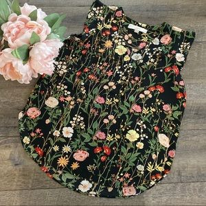 LOFT Black Floral Sleeveless Blouse
